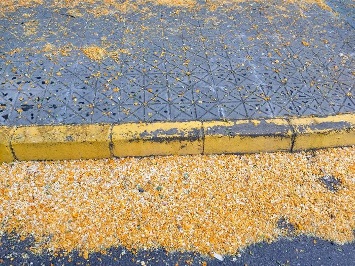 Metal No People Yellow Day Pattern High Angle View Full Frame Outdoors Textured  Close-up Directly Above Road Footpath Street