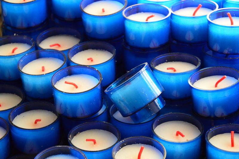 Full frame shot of burning candles