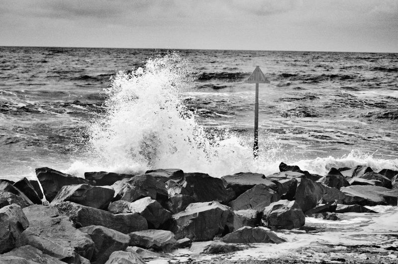 Crashing wave Sea Beach Sand Water Motion Horizon Over Water Nature Wave Breaking Outdoors Day Power In Nature Beauty In Nature No People Crash The Great Outdoors - 2017 EyeEm Awards Beauty In Nature Taking Photos Blackandwhitephotography Black & White Black And White Collection  Monochrome_Photography