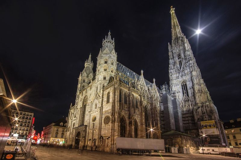 St. Stephen's Cathedral in Vienna at night Gothic Architecture Gothic Church Gothic Architecture Basilica Church Historical Landmark Historical Monuments Architecture Night Building Exterior Built Structure Illuminated Sky Travel Destinations Religion Tourism Place Of Worship Spirituality Travel Outdoors Low Angle View City No People