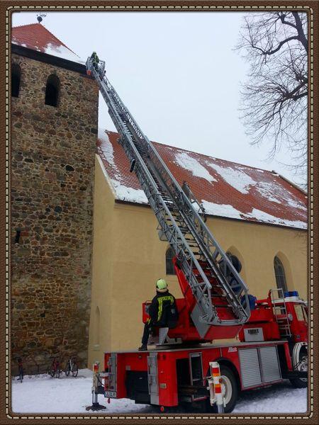 Feuerwehr Drehleiter Freiwillige Feuerwehr Dachlawine