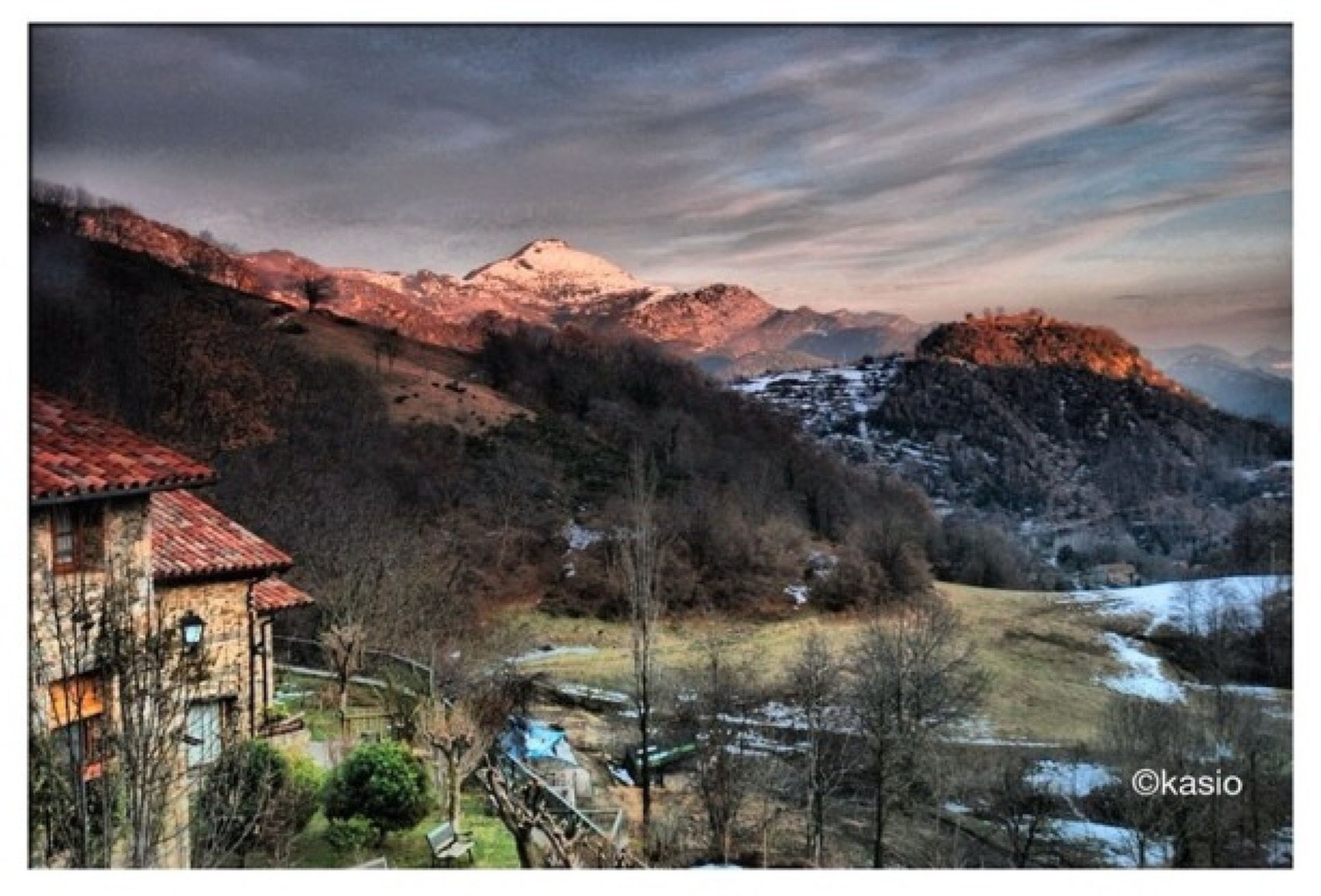 transfer print, mountain, snow, auto post production filter, winter, cold temperature, sky, cloud - sky, scenics, tranquil scene, tranquility, built structure, house, weather, nature, beauty in nature, season, architecture, mountain range, building exterior