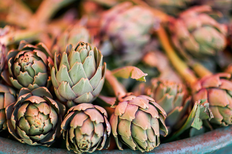 Close-up of artichokes for sale in market