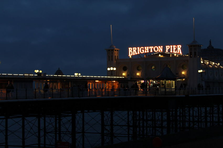This dark pier at night was quite spooky, it has to be said. It was so gloomy and there were hardly any people walking around- still a fun experience though and will definitely return in the summer for some better shots. Brighton Dark Nightphotography Pier Built Structure Night Ocean Photography Scenics Sea Seaside Sky Sunset Travel Destinations The Traveler - 2018 EyeEm Awards HUAWEI Photo Award: After Dark