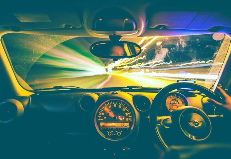 Light painting on car windshield at night
