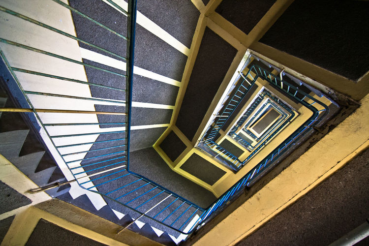 Architecture Built Structure Day Funkhaus Berlin Nalepastrasse Hand Rail High Angle View Indoors  No People Railing Spiral Spiral Staircase Spiral Stairs Staircase Stairs Steps Steps And Staircases