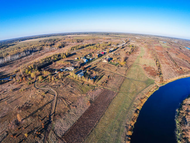 Aerial view of the river Mologa near the village Kuznetsy. A Bird's Eye View Aerial Aerial View Agriculture Autumn Landscape Mologa Nature No People Outdoors River Sky Top Perspective