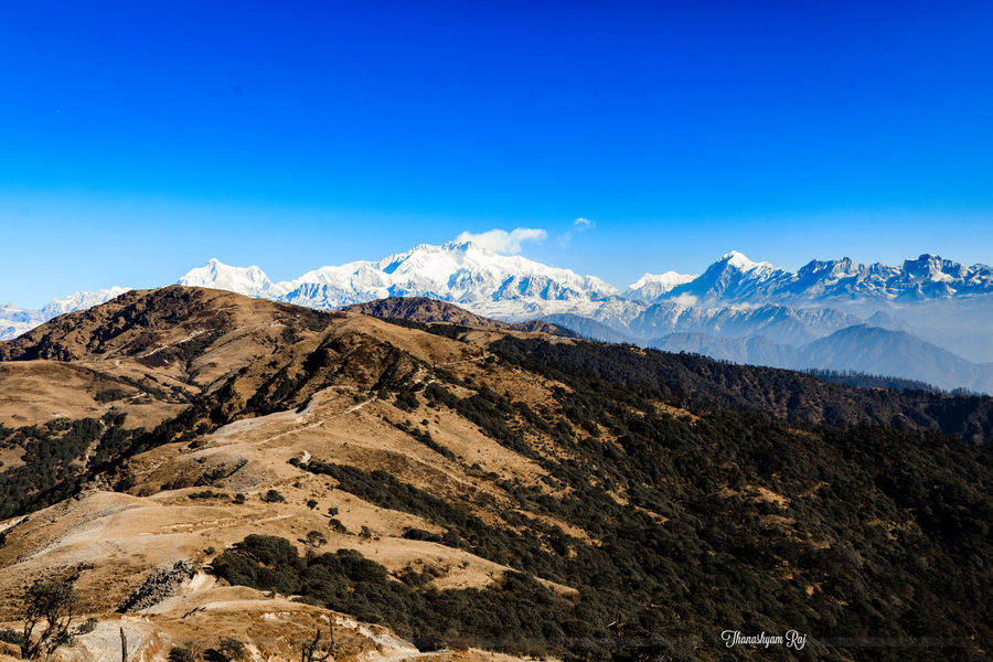 Long way ahead Beauty In Nature Blue Clear Sky Idyllic Landscape Mountain Mountain Peak Mountain Range Nature No People Outdoors Scenics Snow Snowcapped Mountain Tranquility Winter