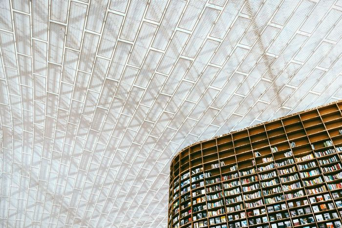 Read books until you reach the sky Seoul Coex Coexmall Roof Books Architecture Low Angle View Full Frame Modern Built Structure Pattern Backgrounds No People Indoors  Atrium Library Starfield Library Korea The Week On EyeEm Bookshelf Minimalism Minimalobsession Bookstore Travel Destinations Bookworm