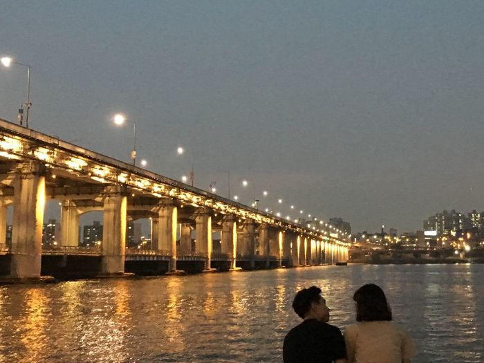 Let's Go. Together. Night River Real People City Bridge Lovers