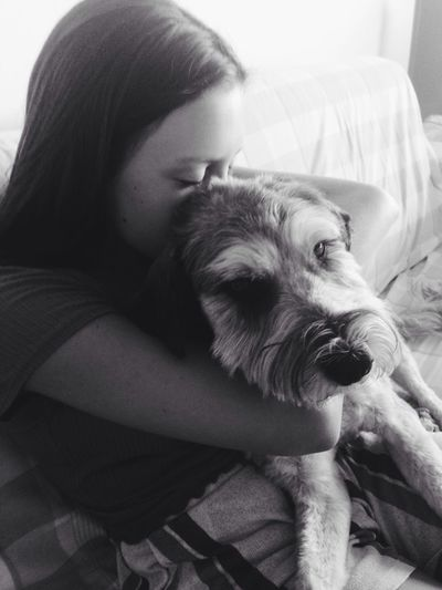 Two Is Better Than One Dog Love Girl Love Pet Photography  Blackandwhite Moment Beautiful Photography