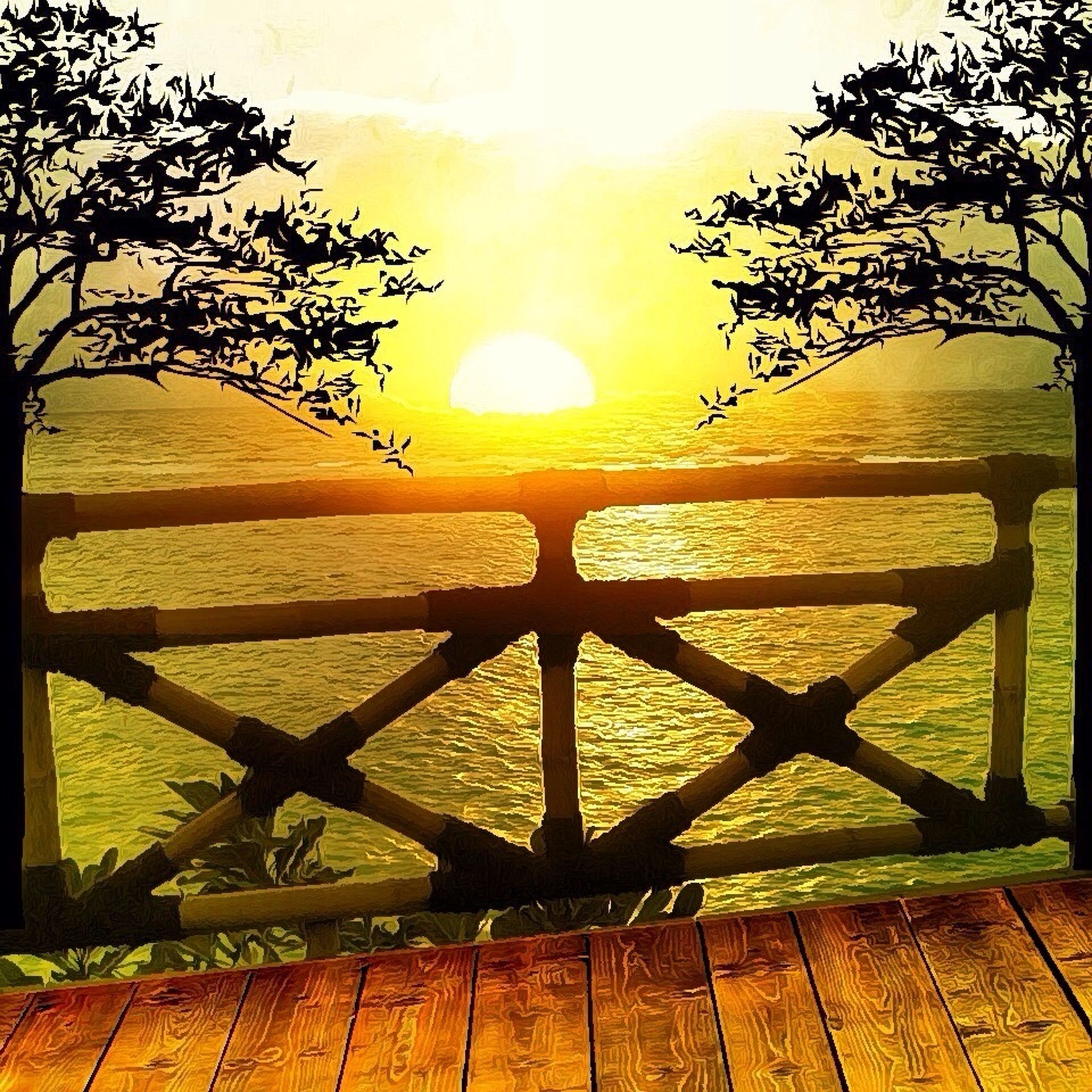sunset, tree, sun, railing, sunlight, tranquility, sky, fence, silhouette, branch, nature, tranquil scene, scenics, sunbeam, beauty in nature, bench, wood - material, orange color, lens flare, idyllic