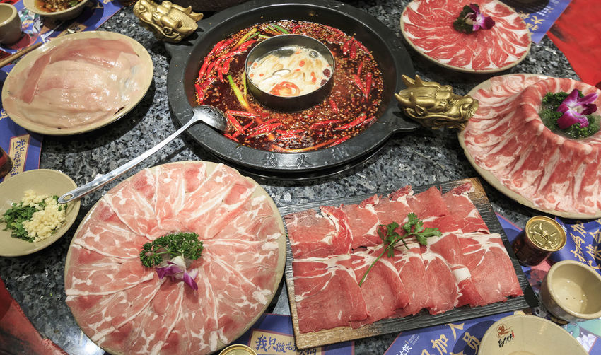 Chengdu, China - December 10, 2018: Close up of Sichuan hot pot in Chengdu Chengdu China ASIA Hot Pot Meat Chongqing Food And Drink Food Freshness High Angle View Choice