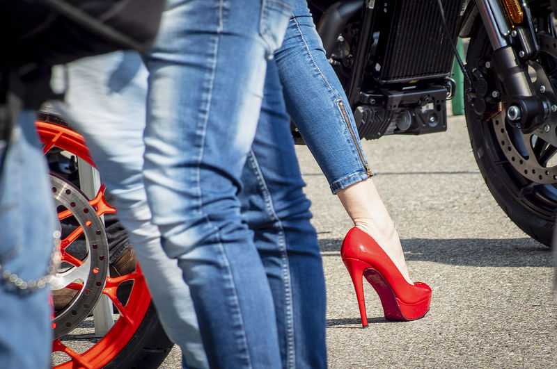 Casual Clothing Human Body Part Human Leg Jeans Lifestyles Low Section Mode Of Transportation Outdoors Red High Heels Shoe Tire Transportation Wheels And Heel Women And Engines The Creative - 2019 EyeEm Awards