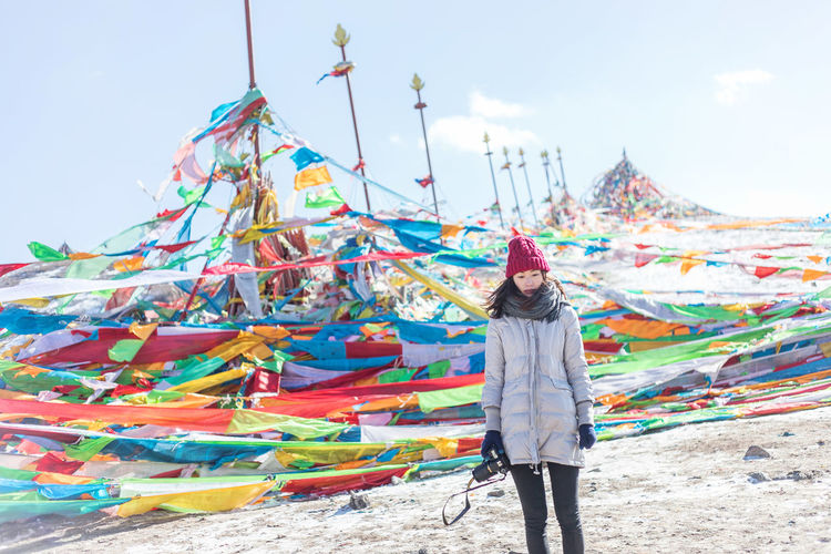 One Person Real People Leisure Activity Multi Colored Standing Lifestyles Sky Day Casual Clothing Young Adult Young Women Nature Three Quarter Length Front View Clothing Land Warm Clothing Outdoors Adult Human Arm Scarf Wind International Women's Day 2019 My Best Photo