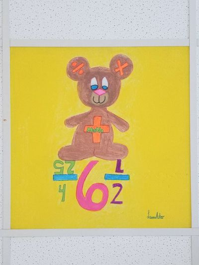 Mathematics Bear Coloring Child Kid Childhood Children Schoool Activity Teddy Bear Math Math Class Math Problem Art Inspirational Learning Teaching Students Teacher Decor Class Room Tile Division Multiplication Addition Subtraction Brown Yellow Stuffed Toy Multi Colored Yellow Close-up