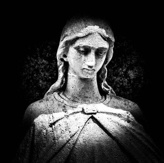 Graveyard beauty Centered Perspective In Front Close Up Zoom Love Beauty Black & White Graveyard Beauty Sadness Death Eternity Endless Love Nobility Handicraft Stone Statue Darling Holy Mary Holy Mourning Close-up Female Likeness Sculpture Virgin Mary Angel Art Statue Human Representation Jesus Christ Sculpted Carving - Craft Product