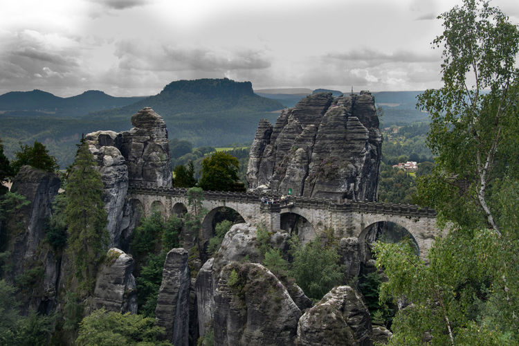 Basteibrücke Basteibrücke Bastei Bridge Bridge Bridge View Bridgeporn Brickwork  Landscape Bastei Elbsandsteingebirge Nature Naturelovers Outside Outdoors Journey Trip Nationalpark Rock Rock Formation Rocks Mountains Mountain Range Mountain View Germany Sachsen Saxony Miles Away The Great Outdoors - 2017 EyeEm Awards Been There. Perspectives On Nature Colour Your Horizn