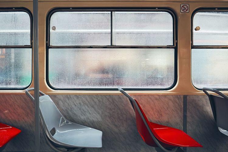 Empty seats in train during rainy season