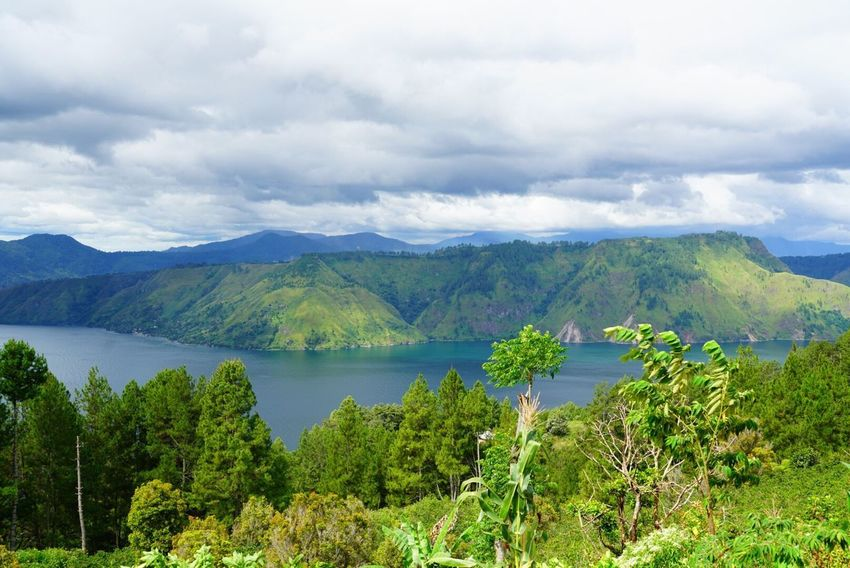 Mountain Scenics Sky Nature Beauty In Nature Tranquility Tranquil Scene Cloud - Sky Mountain Range Outdoors No People Green Color Day Water Tree Lake Plant Landscape Tourism Travel LakeToba  Sumatra  INDONESIA