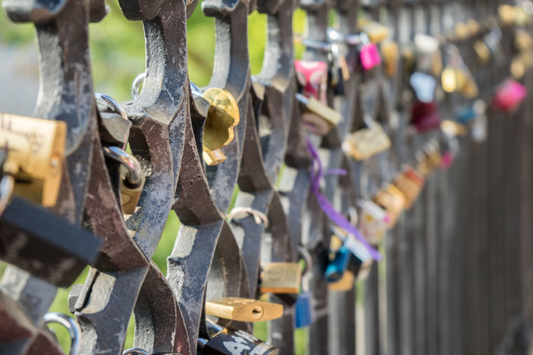Abundance Barrier Boundary Close-up Day Fence Focus On Foreground Hanging Large Group Of Objects Lock Love Lock Metal No People Outdoors Padlock Protection Railing Safety Security Selective Focus