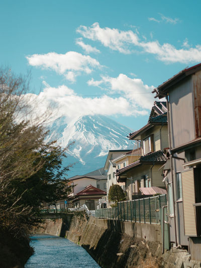 Architecture Building Exterior Built Structure Sky Mountain Cloud - Sky Building Nature Day House Residential District No People Scenics - Nature Plant Tree Beauty In Nature Snow Outdoors Mountain Range City Snowcapped Mountain Mountain Peak Mountfuji