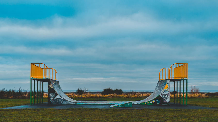 Edinburgh Scotland Skateboarding Absence Architecture Cloud - Sky Day Empty Metal Musselburgh Nature No People Outdoor Play Equipment Outdoors Playground Sky Slide - Play Equipment Tranquility The Architect - 2018 EyeEm Awards The Street Photographer - 2018 EyeEm Awards