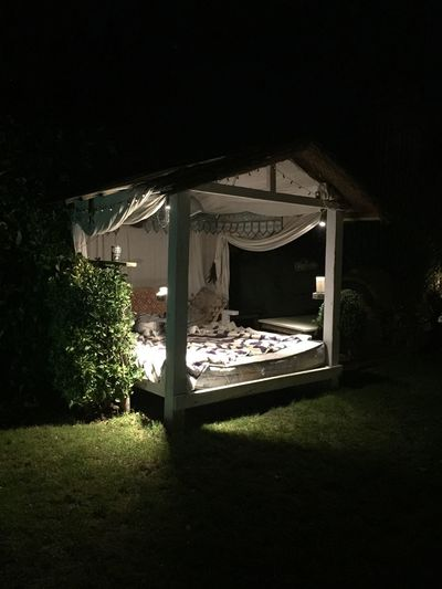 Daybed Plant Architecture Built Structure Building Exterior No People Nature Building Night Outdoors Front Or Back Yard Shadow