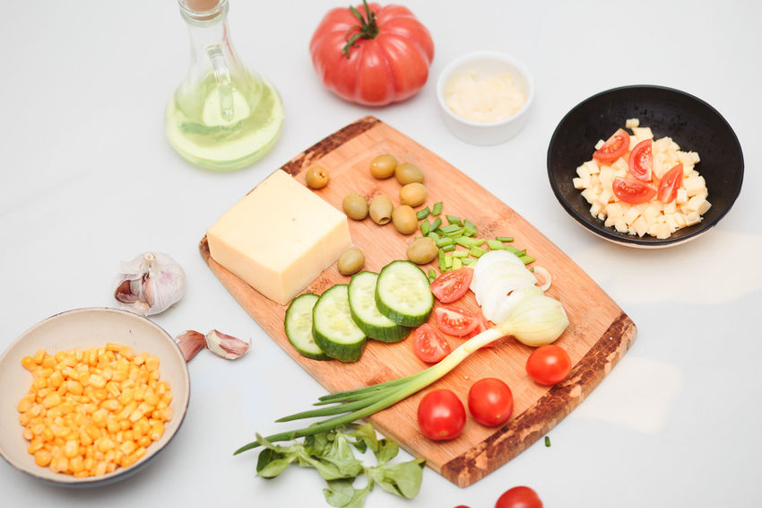 Preparing healthy meal with dairy and vegetables Above Breakfast Cuisine Delicious Delicious ♡ Eat Eating Farm Food Fresh Garden Healthy Herb Ingredient Lunch Meal Overhead View Preparing Slices Snack Sprouts Table Tasty Tomato Vegetables