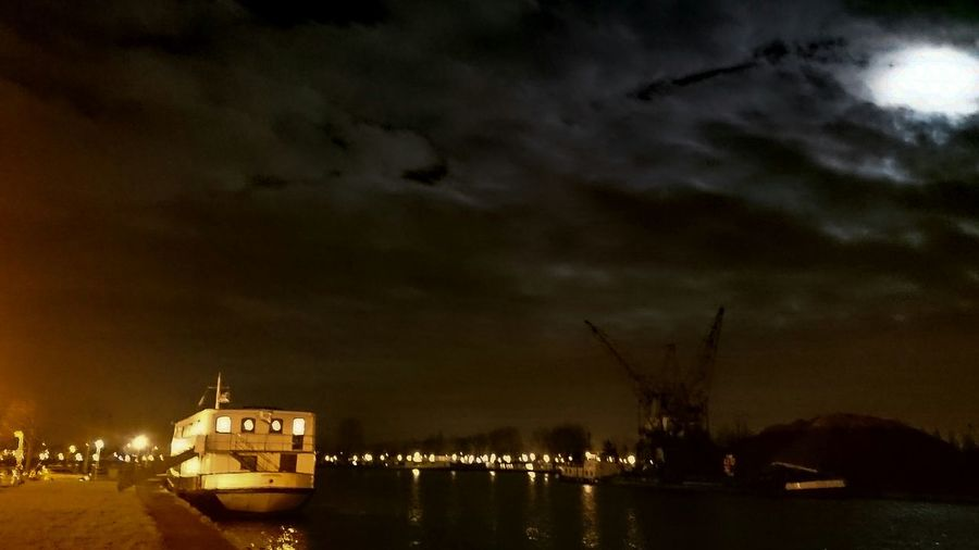 Night Photography, Night View, Full Moon in the Harbour. Darkness And Light