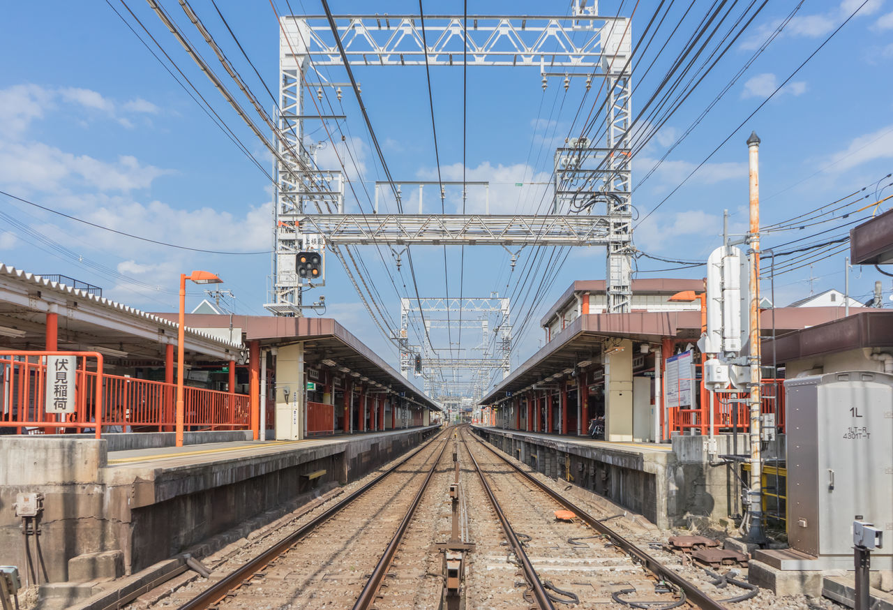 transportation, railroad track, rail transportation, cable, connection, mode of transport, built structure, architecture, day, public transportation, the way forward, bridge - man made structure, sky, no people, outdoors, electricity pylon