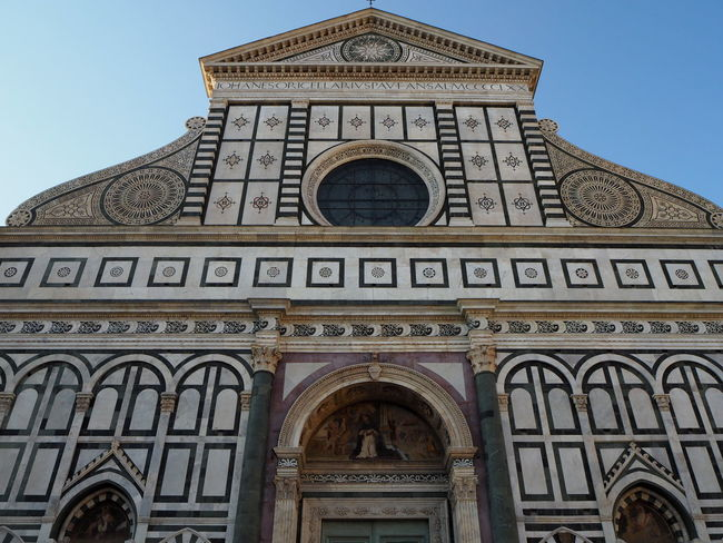 The Basilica of Santa Croce in Florece Arch Architecture Building Exterior Built Structure Day History Low Angle View No People Outdoors Palazzo Pitti Place Of Worship Religion Rose Window Sky Spirituality Travel Destinations