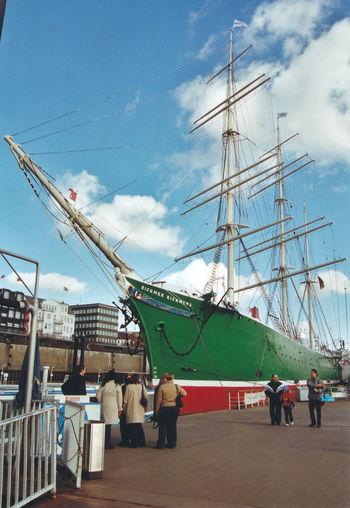 "Die ""Rickmer Rickmers"" im Hamburger Hafen Analogue Photography Historic Ship Hamburg City Nautical Vessel Shipyard Tall Ship Harbor Sailing Ship Commercial Dock Industry Crane - Construction Machinery Sky"