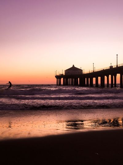 Surfer Beach Sunset Water Sea Silhouette Sand Nature Sky Scenics Horizon Over Water