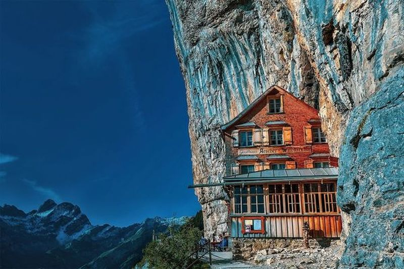 """It has been a long time since I developed one of my hiking pictures ... here from the summer of 2017 the well-known mountain guest house """"Äscher"""". Mountains Swissmountains  Alpstein Äscher Hikingadventures Landscapephotography Natur Hikingonthemountain Hiking Mountain Sky"""