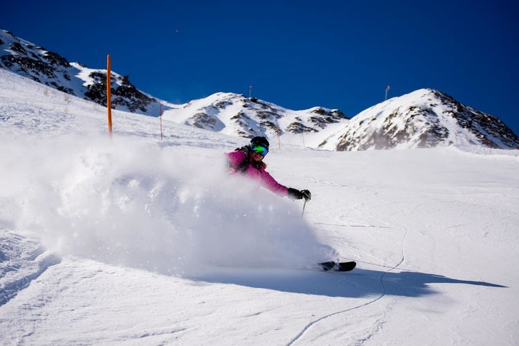 Alps Austria Blue Sky Brake Girl Holiday One Person Ski Holiday Skiing Skiing In Austria 👌 Snow Stopping Sunny Winter