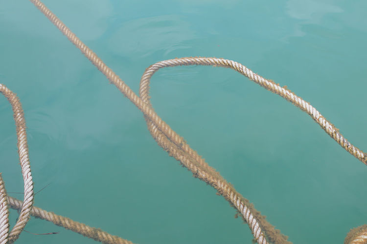 High angle view of rope tied to swimming pool