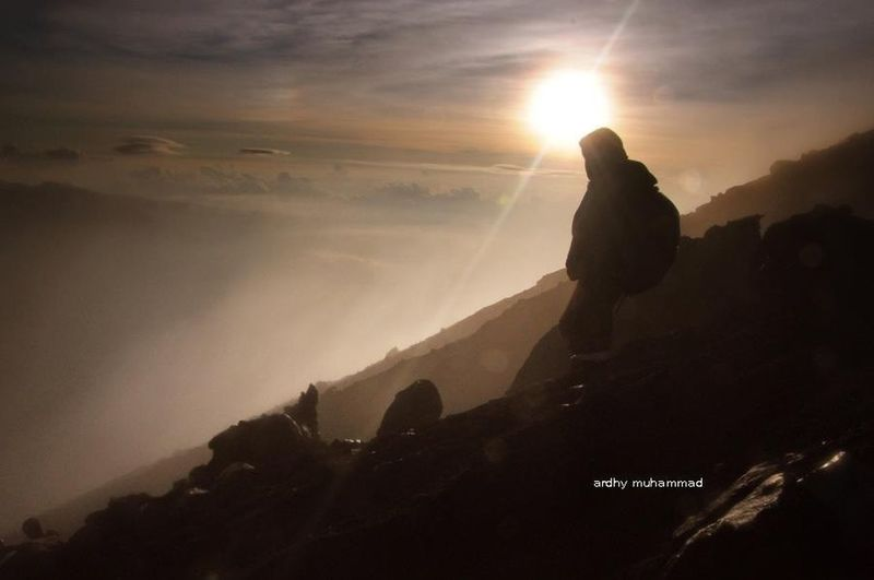 step down from mahameru the highest mountain at java indonesia