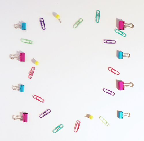Overlay office scene with white background Paper Clip Multi Colored Large Group Of Objects Arrangement Studio Shot No People White Background Close-up Desk Aqua Overhead View Blogger Teacher Push Pins Binder Clips Typography Friendly