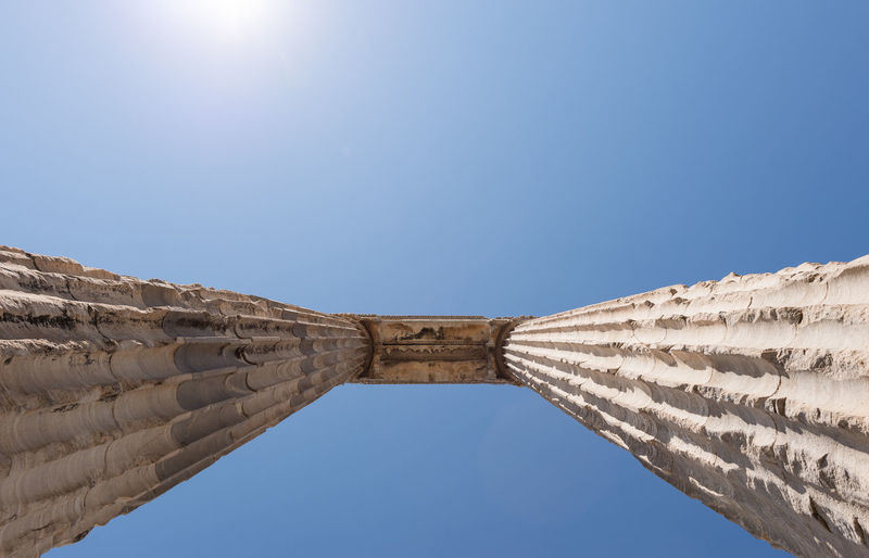 Low angle view of historical built structure against clear blue sky