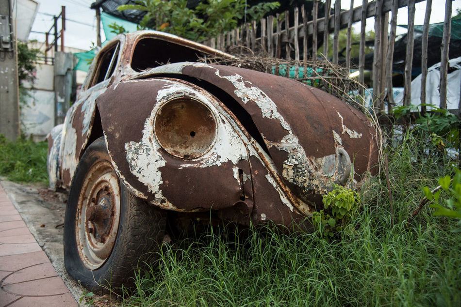 wheathered rust an old vintage car parking wait for maintainance Buggy Car Classic Classic Car Damage Damaged Old Rust Vehicle VW VW Beetle