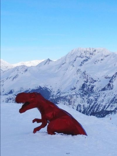 Dino on Ice Travel Destinations France🇫🇷 Meribel Engineering Les3vallées Sculpture Architecture Skiing Dinosaur Red Snow Outdoors Winter Sky Scenics Beauty In Nature Animal Themes Mammal Blue Landscape Clear Sky
