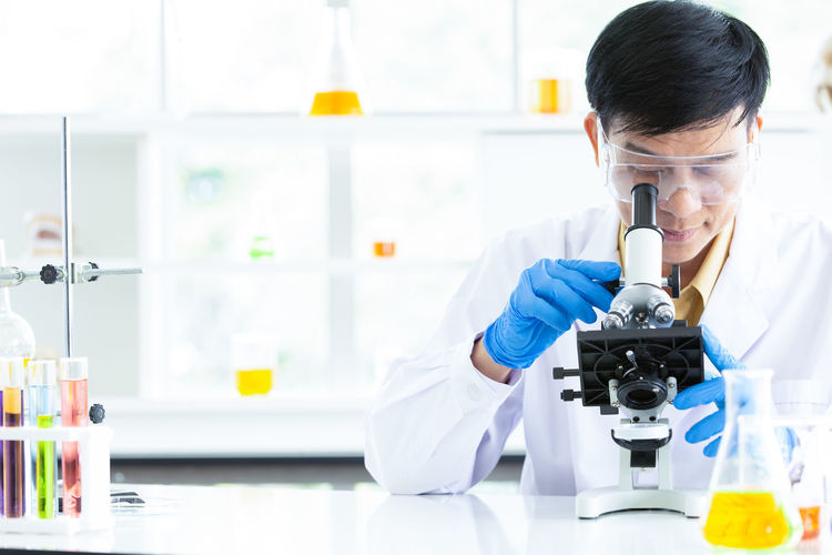 Close-up of scientist in laboratory