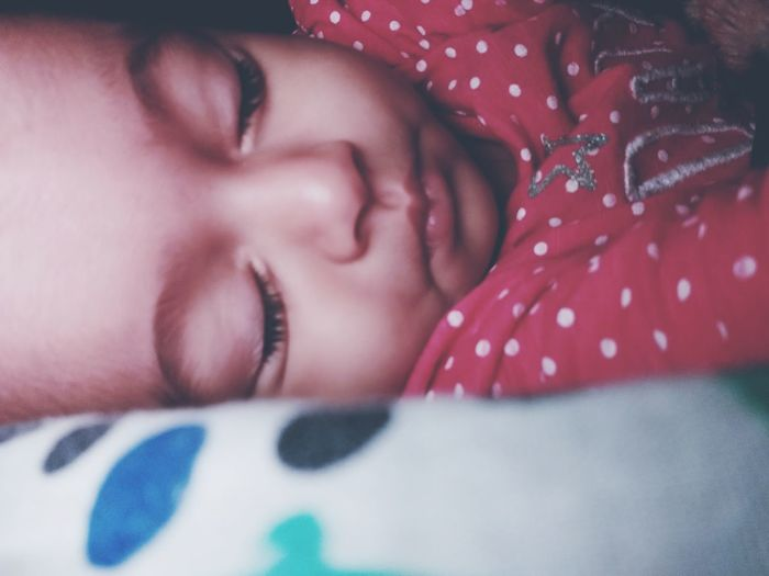 Sound sleep is a baby's sleep Sleeping Baby ❤ EyeEm Selects EyeEm Best Shots Red Baby Girl Baby Soundsleep Lying Down Close-up Polka Dot Sleeping Eyelash Eyelid Napping Human Lips Eyebrow