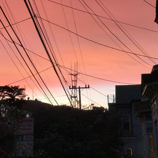 Building Exterior Architecture Sunset City Built Structure Sky No People Outdoors Cable Power Line  Electricity  Tree Electricity Pylon Cityscape Nature Day Sutro Tower Sutro Sunset Sunset Silhouettes