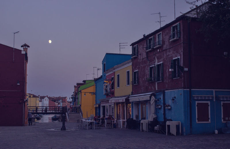 Night Nightphotography Moon Burano Purple Night Colorful Houses Architecture Building Exterior Built Structure Building Sky Street Dusk Outdoors City Life Town Incidental People