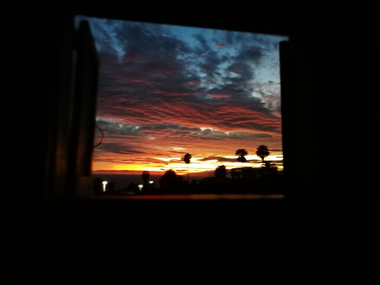 sunset, silhouette, sky, window, indoors, nature, real people, day
