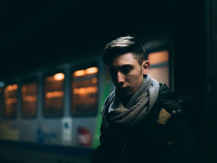 Only Men Handsome One Man Only One Person Casual Clothing Fashion Portrait Lifestyles One Young Man Only Hipster - Person Young Adult Adults Only Beard Night Confidence  Men Illuminated Standing Warm Clothing People Train Station Night Lights City Urban The Portraitist - 2017 EyeEm Awards