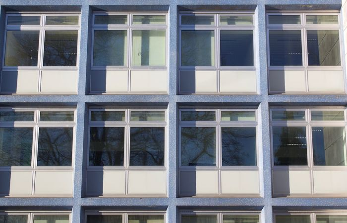 Architecture Backgrounds Building Exterior Built Structure Day Grey No People Office Building Office Building Exterior Outdoors Pattern Rhytm Seventies White Window Windows
