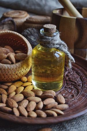 Basket No People Indoors  Freshness Food Healthy Eating Close-up Day Nutrition Bottle Almonds Beautycare Essentialoils Body Care Freshness Indoors